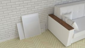 Mockup of poster or photo frame in the interior. 3D rendering illustration stock illustration
