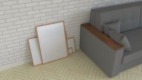 Mockup of poster or photo frame in the interior. 3D rendering illustration vector illustration