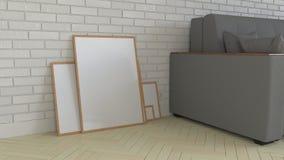 Mockup of poster or photo frame in the interior. 3D rendering illustration royalty free illustration