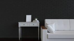 Mockup of poster or photo frame in the interior. Photo frame on dressing table beside sofa. 3D rendering illustration vector illustration