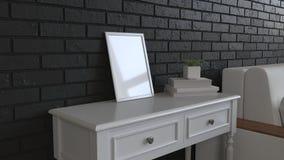 Mockup of poster or photo frame in the interior. Photo frame on dressing table beside sofa. 3D rendering illustration stock illustration