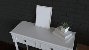 Mockup of poster or photo frame in the interior. Photo frame on dressing table beside sofa. 3D rendering illustration royalty free illustration