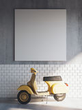 Mockup poster in vintage hipster loft interior background with yellow bike. 3D rendering royalty free illustration