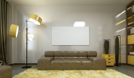 Mockup poster on the wall in a modern living room. Royalty Free Stock Photo