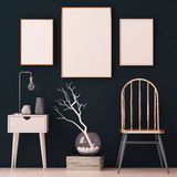 Mockup posters in the interior in copper frames on dark background. 3d Royalty Free Stock Images