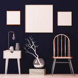 Mockup posters in the interior in copper frames on dark background. 3d Stock Photo