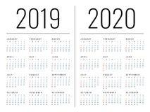 Mockup Prosty kalendarzowy układ dla 2019 i 2020 rok Tydzień zaczyna od Poniedziałku royalty ilustracja