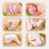Mockup raw chicken and pork on cutting board set on isolated on stock photo