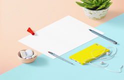 Mockup scene, paper blank with decoration. For placing your design Royalty Free Stock Photos