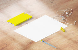 Mockup scene, paper blank with decoration. For placing your design Royalty Free Stock Photo