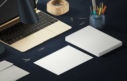 Mockup scene, paper blank with decoration for placing your design. Office tools Royalty Free Stock Photos