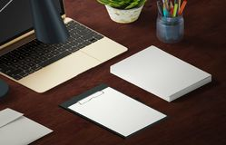 Mockup scene, paper blank with decoration for placing your design. Office tools Royalty Free Stock Image