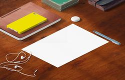 Mockup scene, paper blank with decoration for placing your design. Office tools Royalty Free Stock Photo