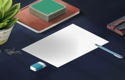 Mockup scene, paper blank with decoration for placing your design. Office tools Stock Photography