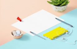 Mockup scene, paper blank with decoration for placing your design. Office tools Stock Photos