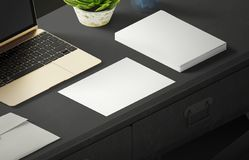Mockup scene, paper blank with decoration for placing your design. Office tools Royalty Free Stock Images