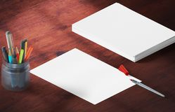 Mockup scene, paper blank with decoration for placing your design. Office tools Stock Image