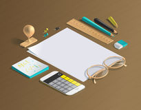 Mockup scenes on education theme. School objects on the wooden table for your graphic design. Bright colors in funny set Stock Images