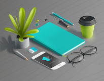 Mockup scenes on education theme. School objects on the wooden table for your graphic design. Bright colors in funny set Stock Photos