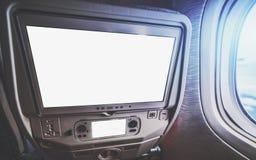 Mockup Seat multimedie nowożytny samolot Obrazy Royalty Free