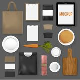 Mockup set collection coffee cafe vector illustration Stock Image