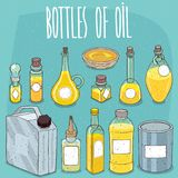 Mockup set containers of oil or yellow liquid Stock Photography