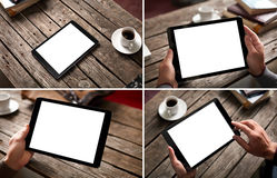 Mockup set of digital tablet pc images Stock Photography