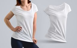 Mockup Set with fit young woman in the blank t-shirt and shape. Mockup Set with fit young woman in the blank t-shirt and dark breeches and shape of t-shirt stock photos