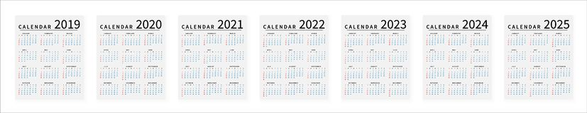 Mockup Simple calendar Layout for 2019 to 2025 years. Week starts from Sunday vector illustration