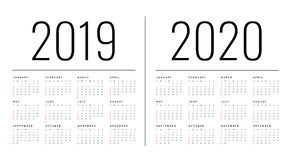 Mockup Simple calendar Layout for 2019 and 2020 years. Week starts from Monday.  royalty free illustration