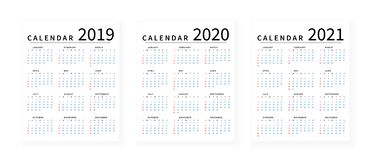 Mockup Simple calendar Layout for 2019, 2020 and 2021 years. Week starts from Sunday stock illustration