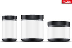 Mockup Sport Nutrition Container. Whey Protein and Gainer. Stock Images