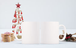 Mockup Styled Stock Product Image, two white mugs that you can add your custom design or quote to. Stock Photos