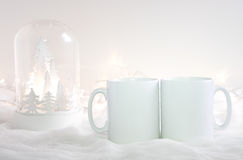 Mockup Styled Stock Product Image, two white mugs that you can add your custom design/quote to. Christmas mock up styled stock product image, Christmas scene Stock Images