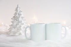 Mockup Styled Stock Product Image, two white mugs that you can add your custom design/quote to. Stock Images
