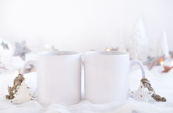Mockup Styled Stock Product Image, two white mugs that you can add your custom design/quote to. Christmas mock up styled stock product image, Christmas scene Stock Image