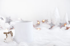 Mockup Styled Stock Product Image, white mug that you can add your custom design/quote to. Royalty Free Stock Photography