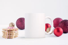 Mockup Styled Stock Product Image, white mug that you can add your custom design/quote to. Royalty Free Stock Photos