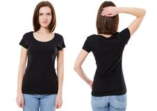 Mockup of a template of a black woman`s t shirt on a white background. Front view, rear view. The beautiful girl the brunette in stock image