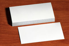 Mockup, template visit card on wood background Stock Images