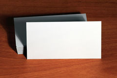 Mockup, template visit card on wood background Stock Photos