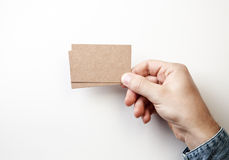 Mockup of two craft business cards Royalty Free Stock Photo