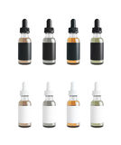 Mockup of Vape bottles with liquid on white background. Template. 3d rendering Royalty Free Stock Photo