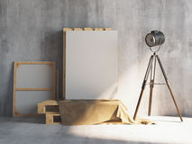 Mockup of vertical blank canvas on the wooden palletes with loft projectors. Art studio. 3d rendering. Mockup of vertical blank canvas on the wooden palletes Royalty Free Stock Images