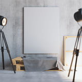 Mockup of vertical blank canvas on the wooden palletes with loft projectors. Art studio. 3d rendering. Mockup of vertical blank canvas on the wooden palletes royalty free illustration