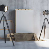 Mockup of vertical blank canvas on the wooden palletes with loft projectors. Art studio. 3d rendering. Mockup of vertical blank canvas on the wooden palletes Stock Photos