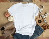 Mockup of a White T-Shirt Blank Shirt Template Photo. With Fall accessories and burlap background royalty free stock image