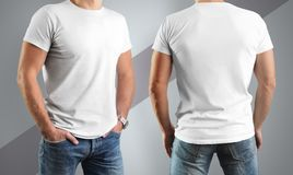Mockup  white t-shirts on the man, pose in front and back. Isolated on a gray background with a diagonal strip Stock Images