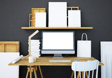 Mockup work desk with a PC. 3d Stock Image