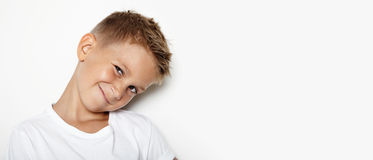 Mockup of young kid showing some emotions Stock Images